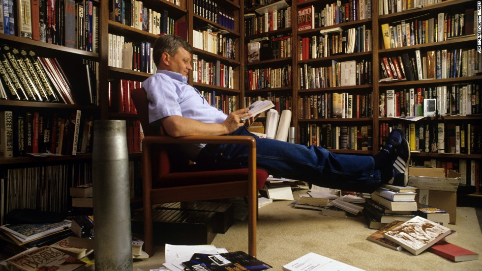 Best Seller author Tom Clancy at his home library
